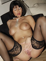 Desyra in a short dress wicked weasel lace knicker and stockings