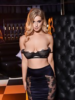 Jess Davies teases in her black bras and skirt