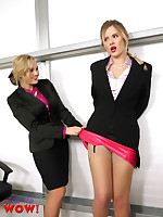 Heavenly Jodie Gasson and Elle Richie striptease each other in the office.